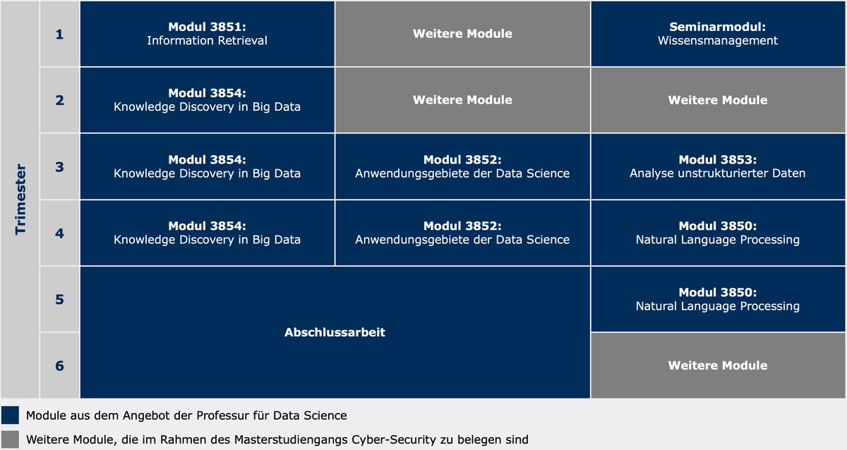 Übersichtsgrafik des Modulangebots der Professur für Data Science