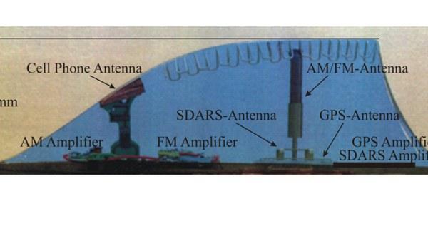 Mobil-, Satelliten- und Rundfunk in einer Haifischflosse