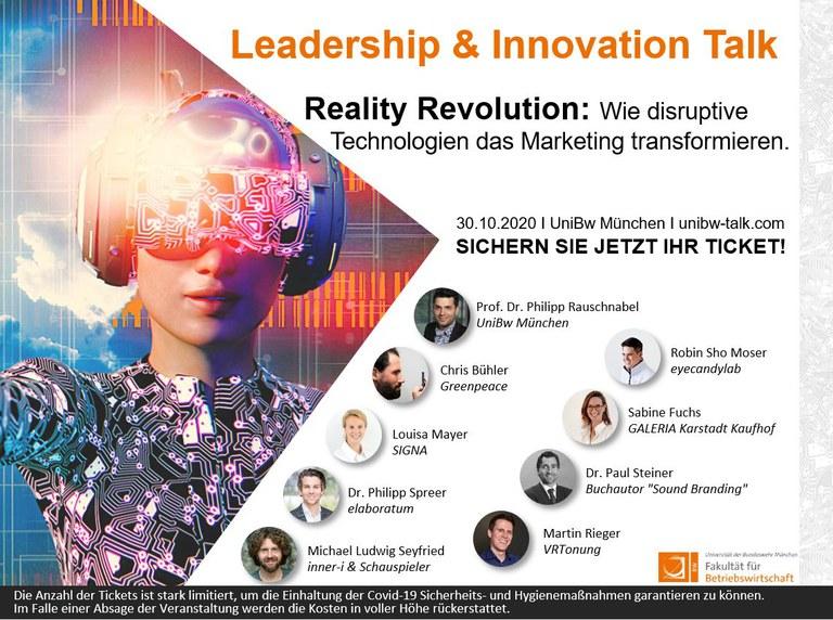 Gründungsinteressierte sind herzlich zum Leadership & Innovation Talk 2020 eingeladen
