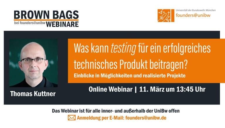 """Brown Bag: Was kann testing für ein erfolgreiches technisches Produkt beitragen?"""" – Einblicke in Möglichkeiten und realisierte Projekte"""
