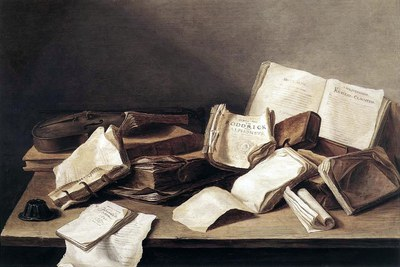 Jan Davidsz. de Heem  (1606–1683/1684), Still Life with Books and a Violin, 1628, Koninklijk Kabinet van Schilderijen Mauritshuis.