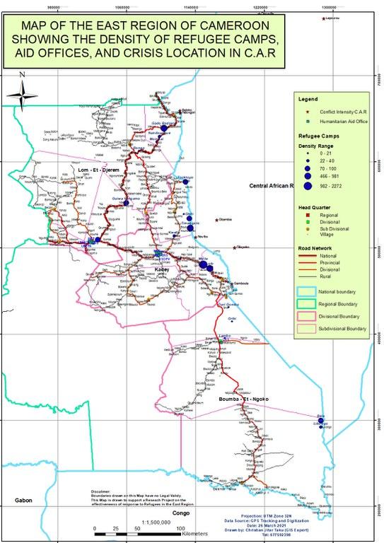 Karte der Region Ost-Kamerun mit Darstellung des prozentualen Anteils von Flüchtlingen in Lagern im Verhältnis zur einheimischen Bevölkerungen (z. B. die Flüchtlinge im Lager von Mbile entsprechen 2272% im Verhältnis zur einheimischen Bevölkerung), Hilfsbüros und Krisenorten (Quelle: eigene Erhebungsdaten, erstellt mit ARC GIS; siehe auch Agwa (2021, S. 188)).