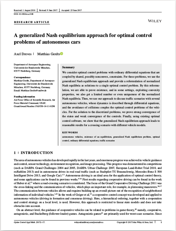 A generalized Nash equilibrium approach for optimal control problems of autonomous cars