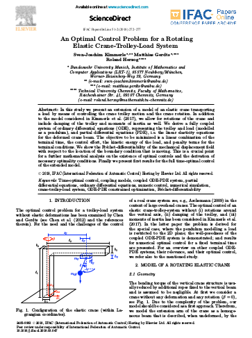 An Optimal Control Problem for a Rotating Elastic Crane-Trolley-Load System