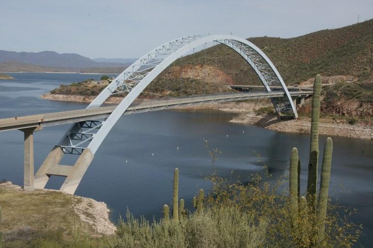Brücke mit See und Kaktus