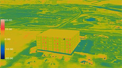 Infrared view of a building