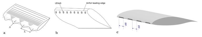 Abb.2: a) Tuberkel-Vorderkante, b) LEVoG's. c) verteilte scharfe Vorderkanten,  Bildquellen: Prof. Dr.-Ing. Oliver Meyer