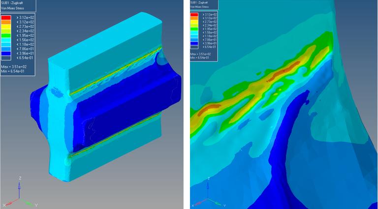 FEM-Modell der Realgeomtrie einer Schweißprobe mit Detail (rechts). Verteilung der Vergleichsspannung, mit deutlichen Spannungsspitzen am Nahtübergang.