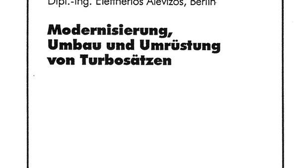 """Buchvorstellung """"Modernisierung, Umbau und Umrüstung von Turbosätzen"""""""