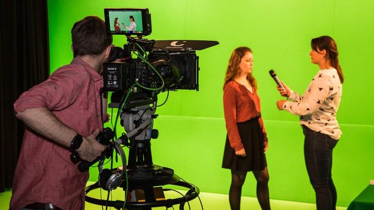 Interview vor der Greenscreen