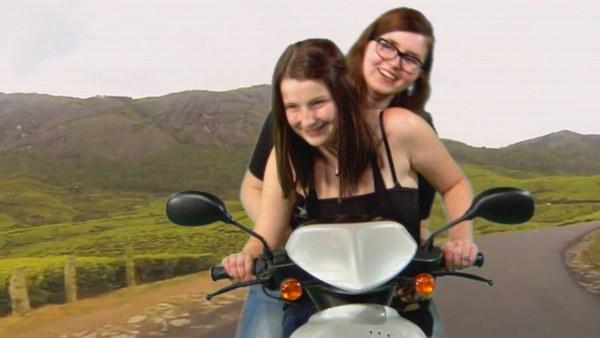 Szene mit Motorroller
