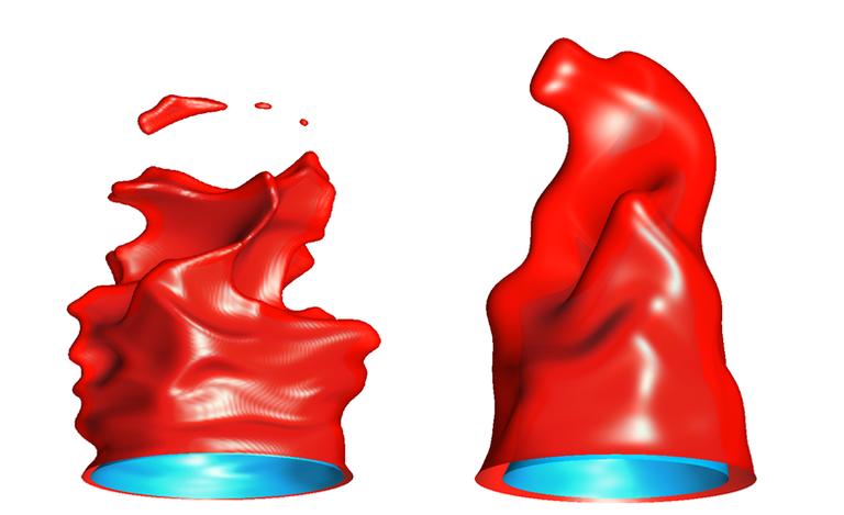 Temperaturisoflächen einer Bunsenflamme in Standard- und Hochdruckumgebung