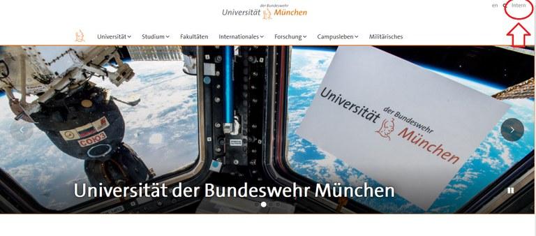 Screenshot Startseite mit Intern-Button