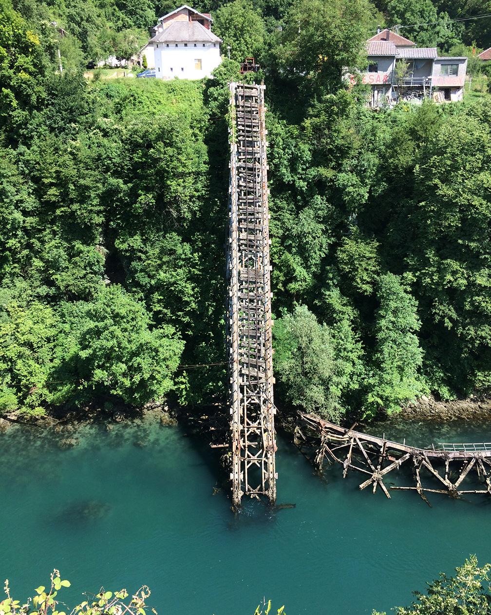 Destroyed bridge across the Neretva River (World War II)
