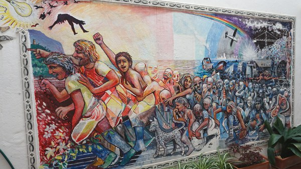 Mural painting about migration (Malaga)