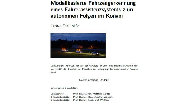 Modellbasierte Fahrzeugerkennung eines Fahrerassistenzsystems zum autonomen Folgen im Konvoi