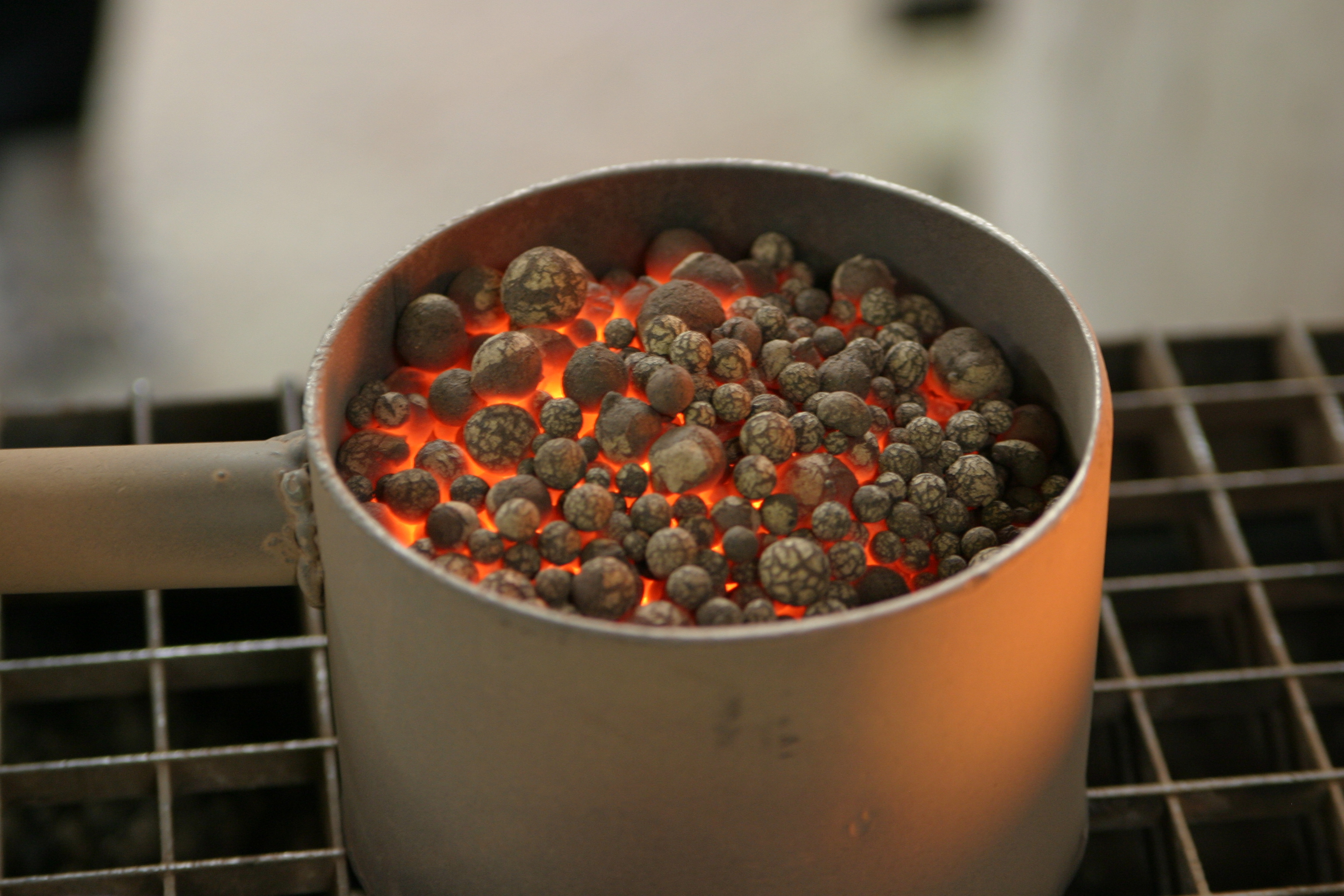 red-hot Liapor expanded clay